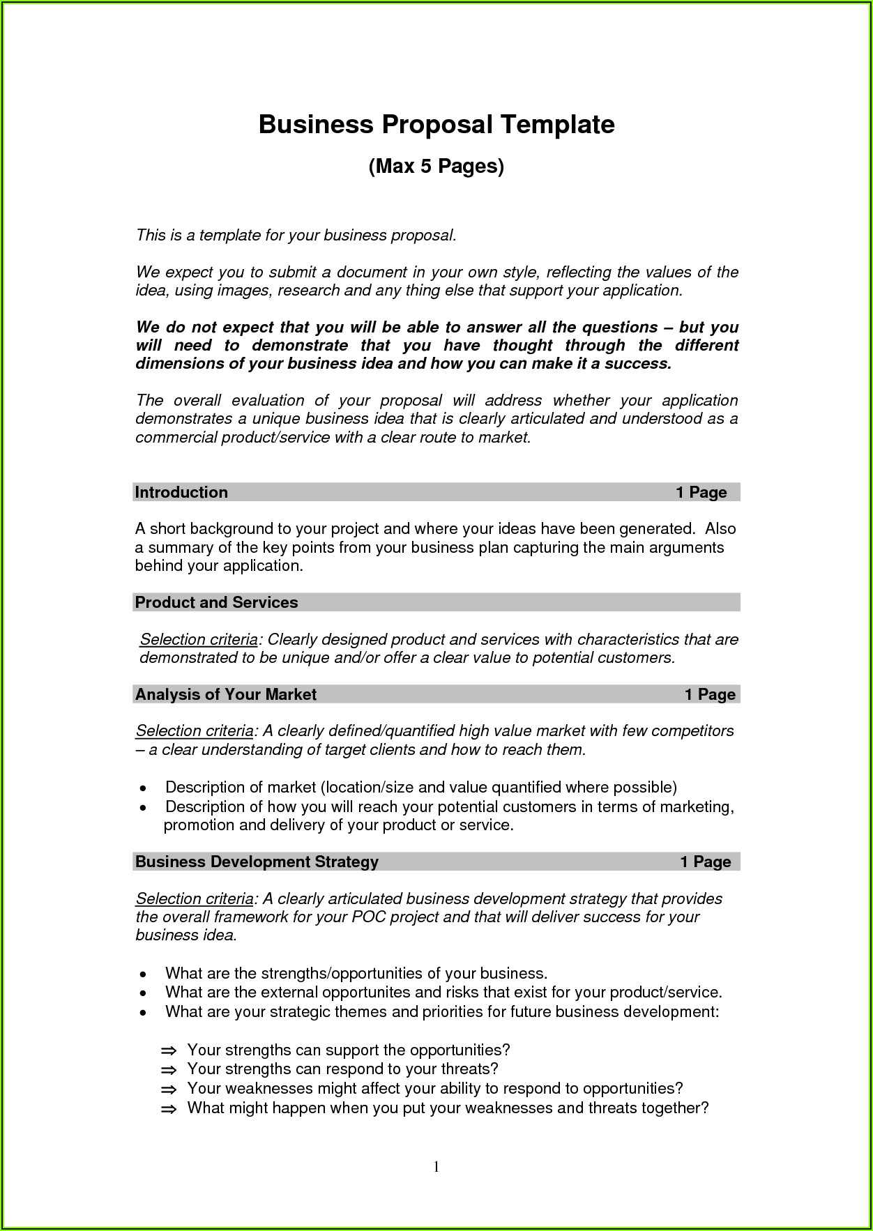 Short Form Business Plan Template