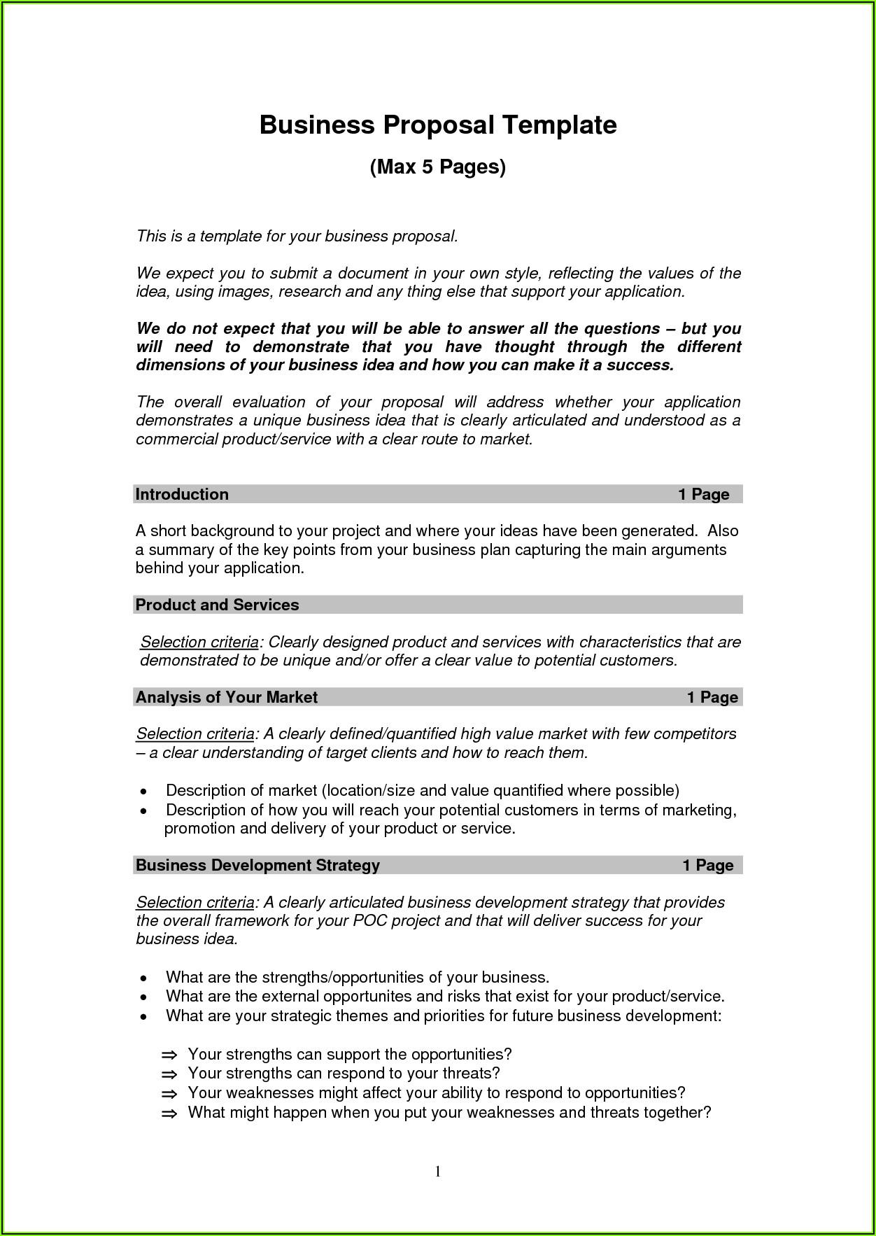 Short Form Business Plan Template