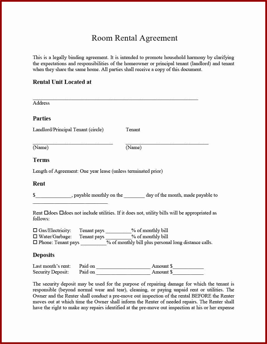 Simple House Rental Agreement Format