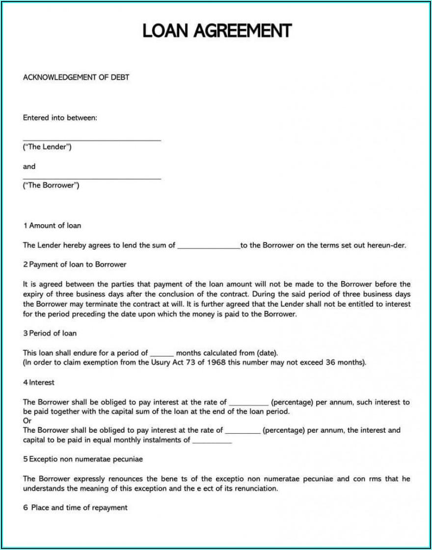 Simple Loan Agreement Template Canada