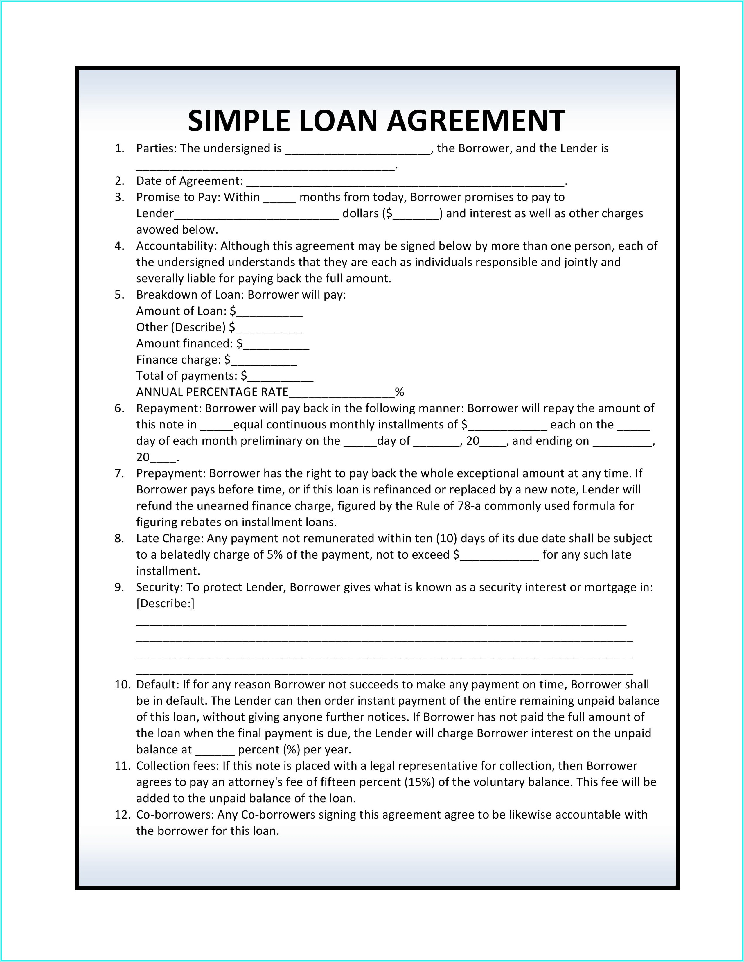 Simple Loan Agreement Template Pdf