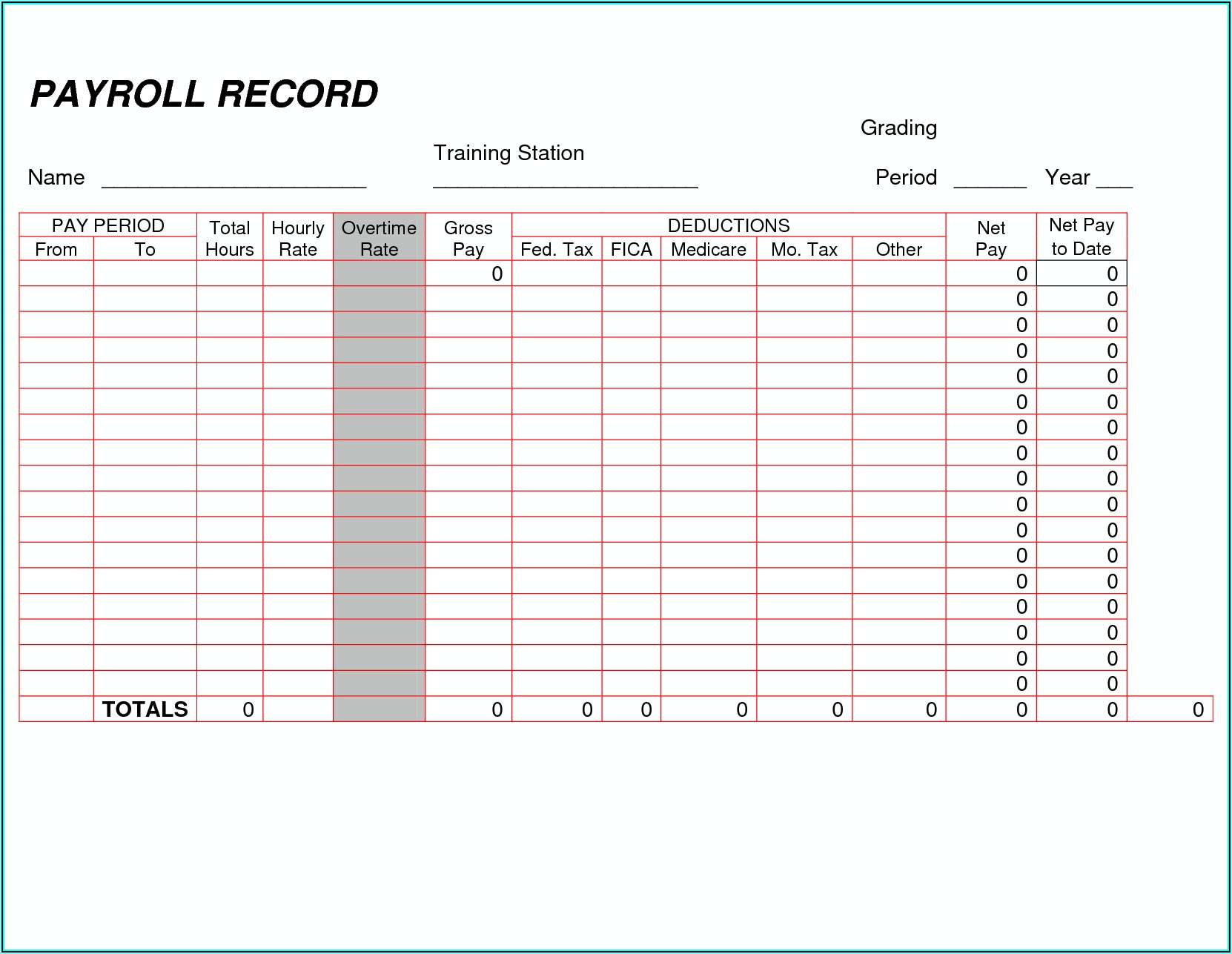 Simple Payroll Template Pdf
