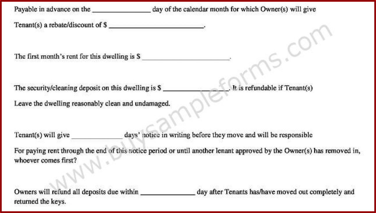 Simple Rental Agreement Format In Word