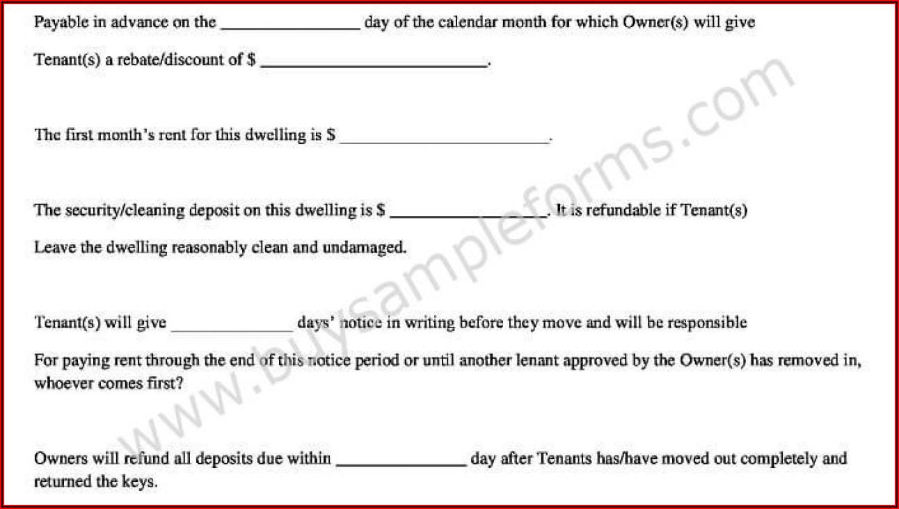 Simple Rental Agreement Format In Word