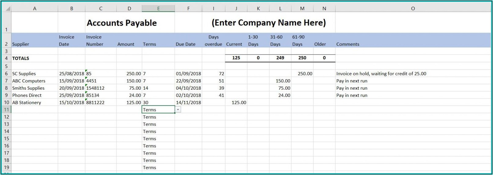 Small Business Accounting Template Excel