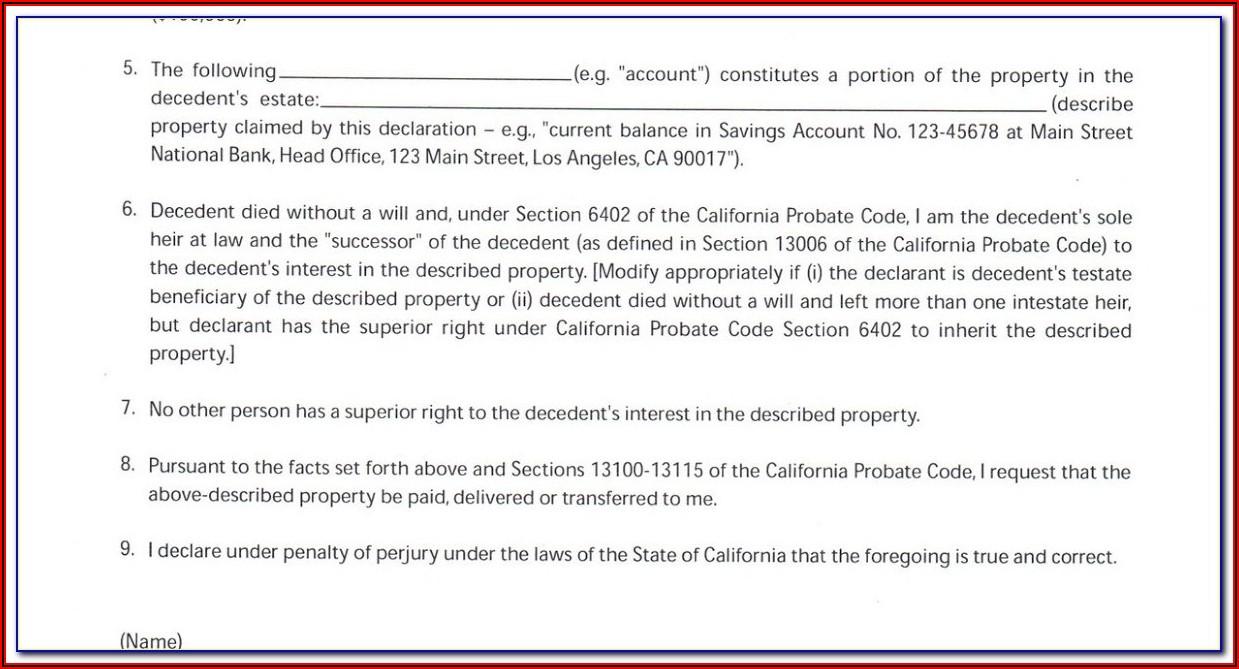 Small Estate Affidavit Form California 2017