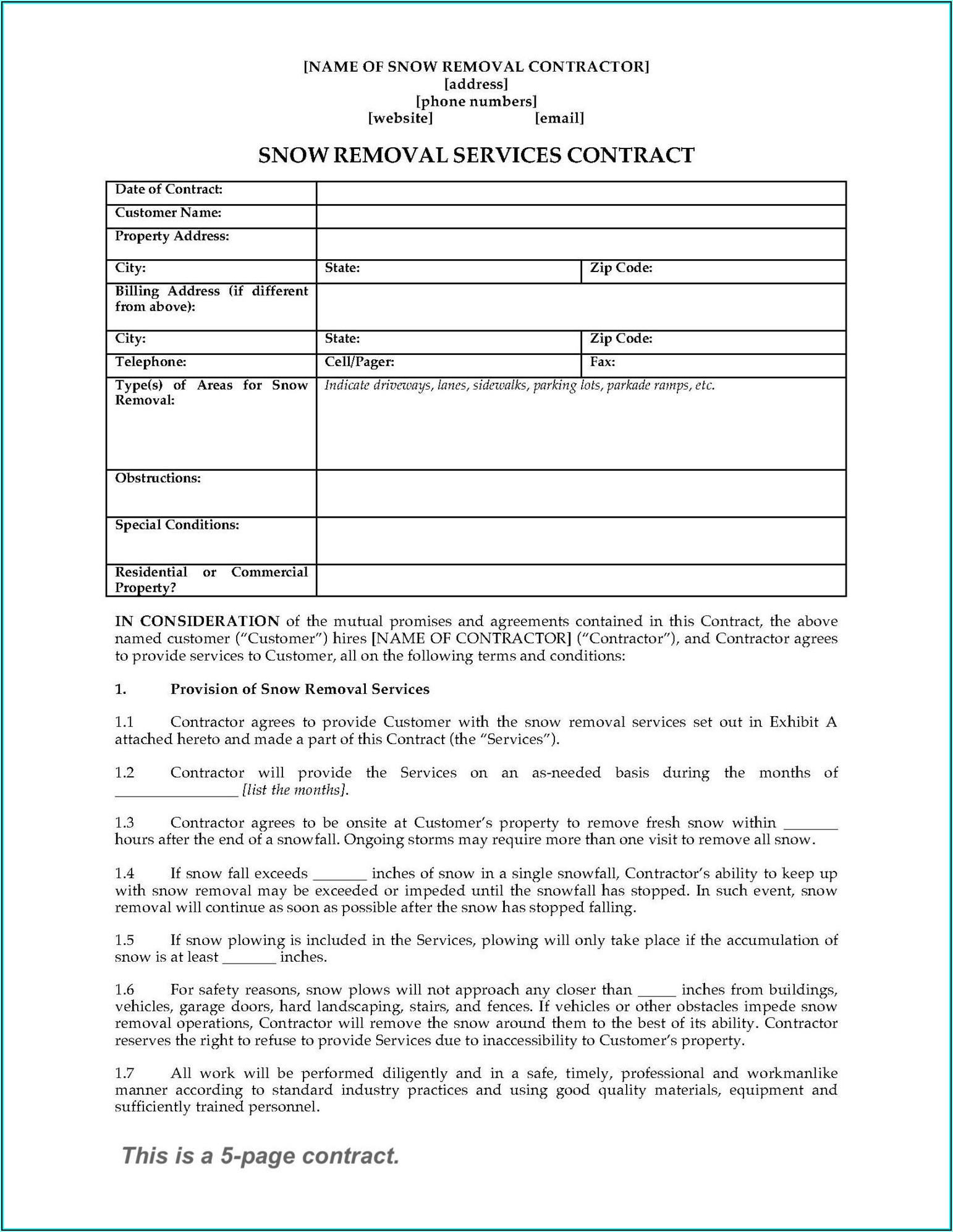 Snow Plow Contract Example