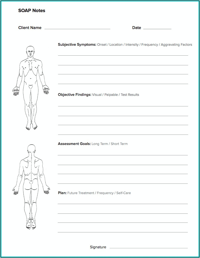 Soap Note Template Massage Therapy