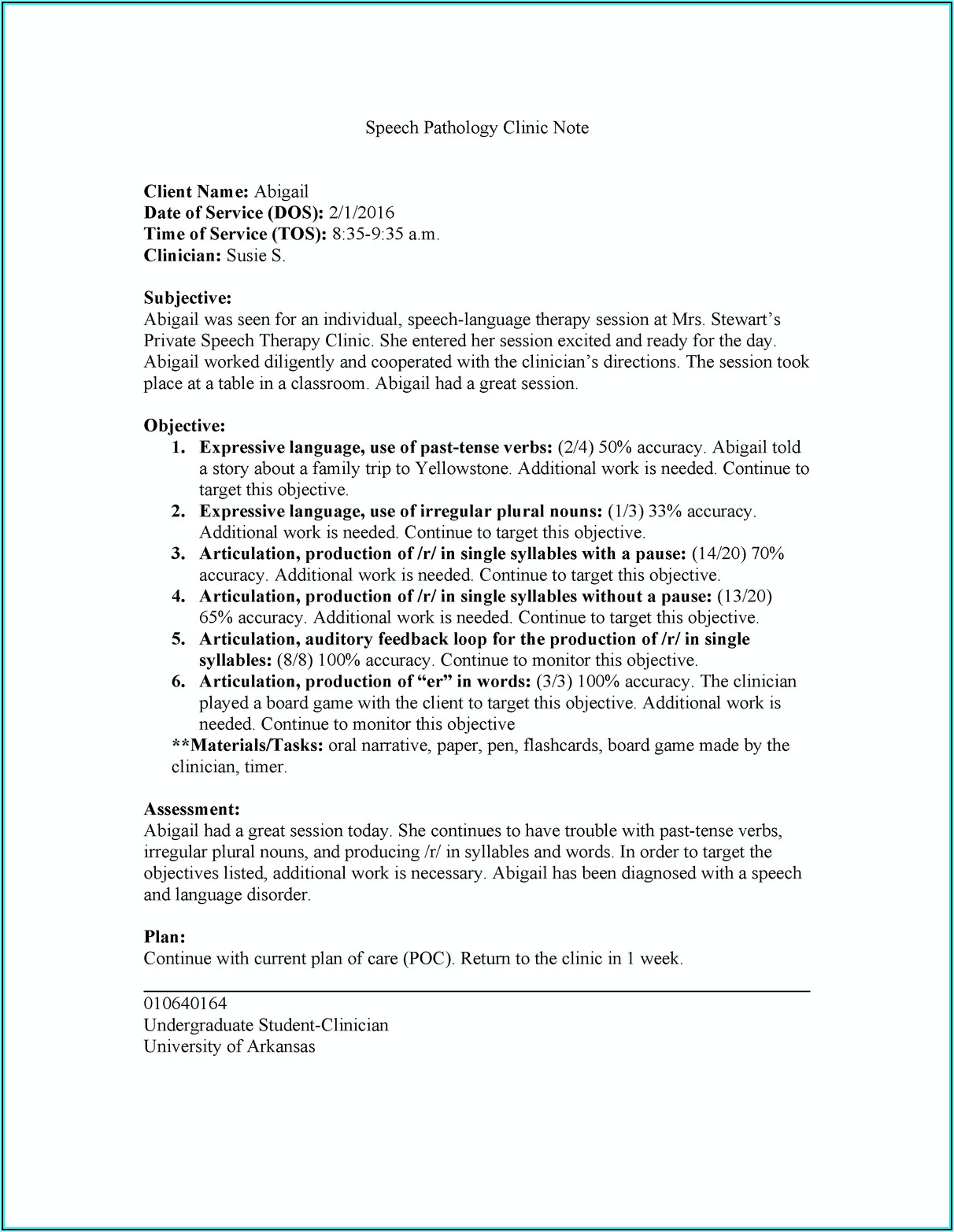 Soap Note Template Speech Therapy