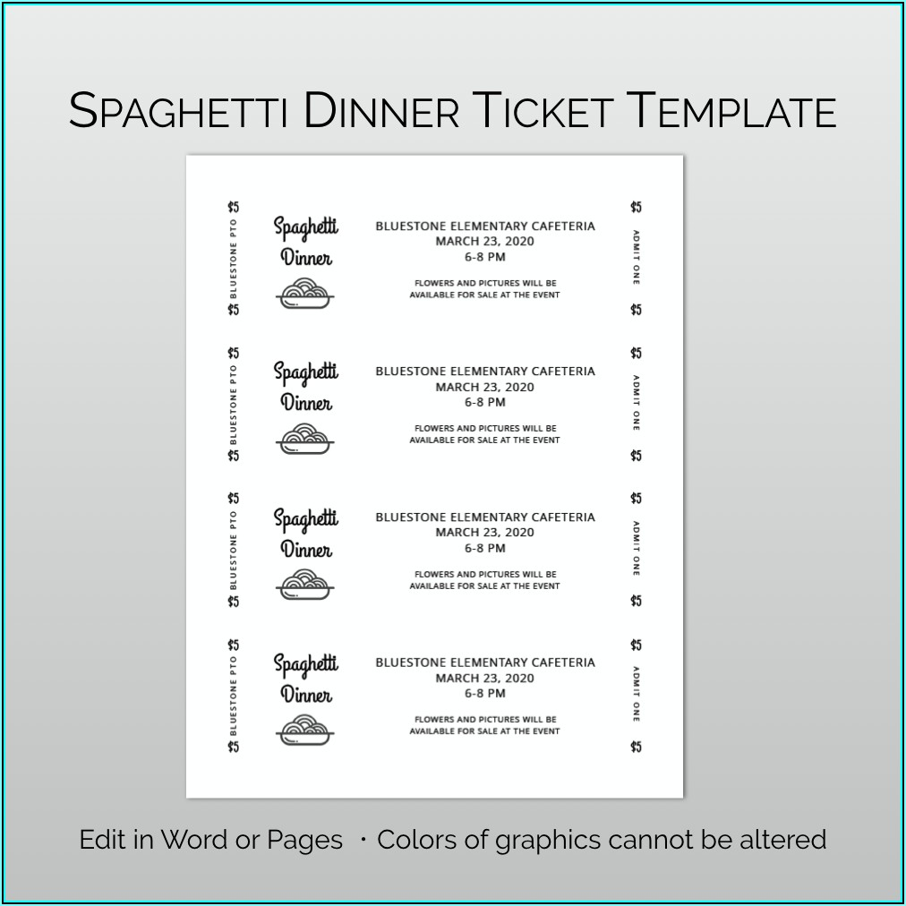 Spaghetti Dinner Ticket Template