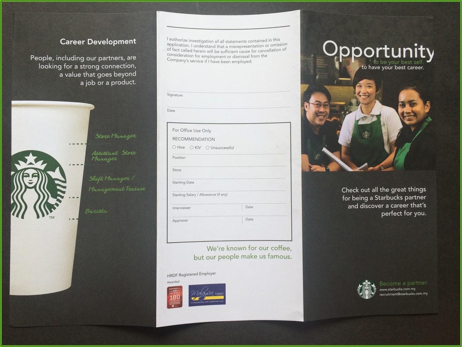 Starbuck Job Application Form