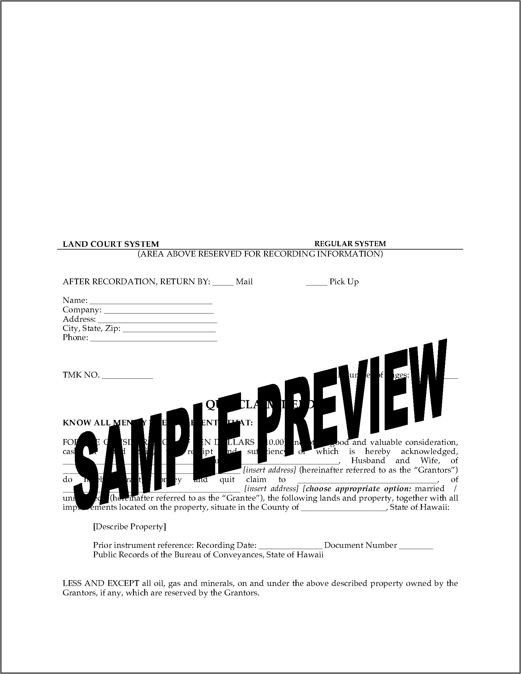 State Of Hawaii Quit Claim Deed Form