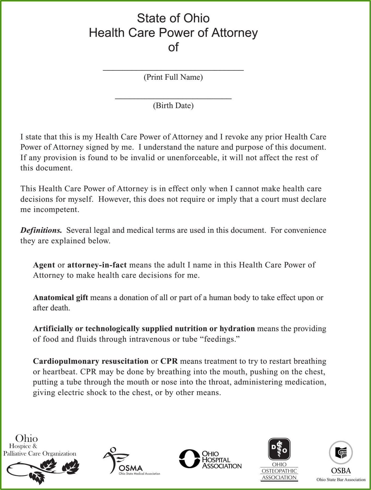 State Of Ohio Durable Financial Power Of Attorney Form