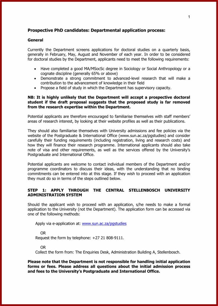 Stellenbosch University Bursary Application Forms