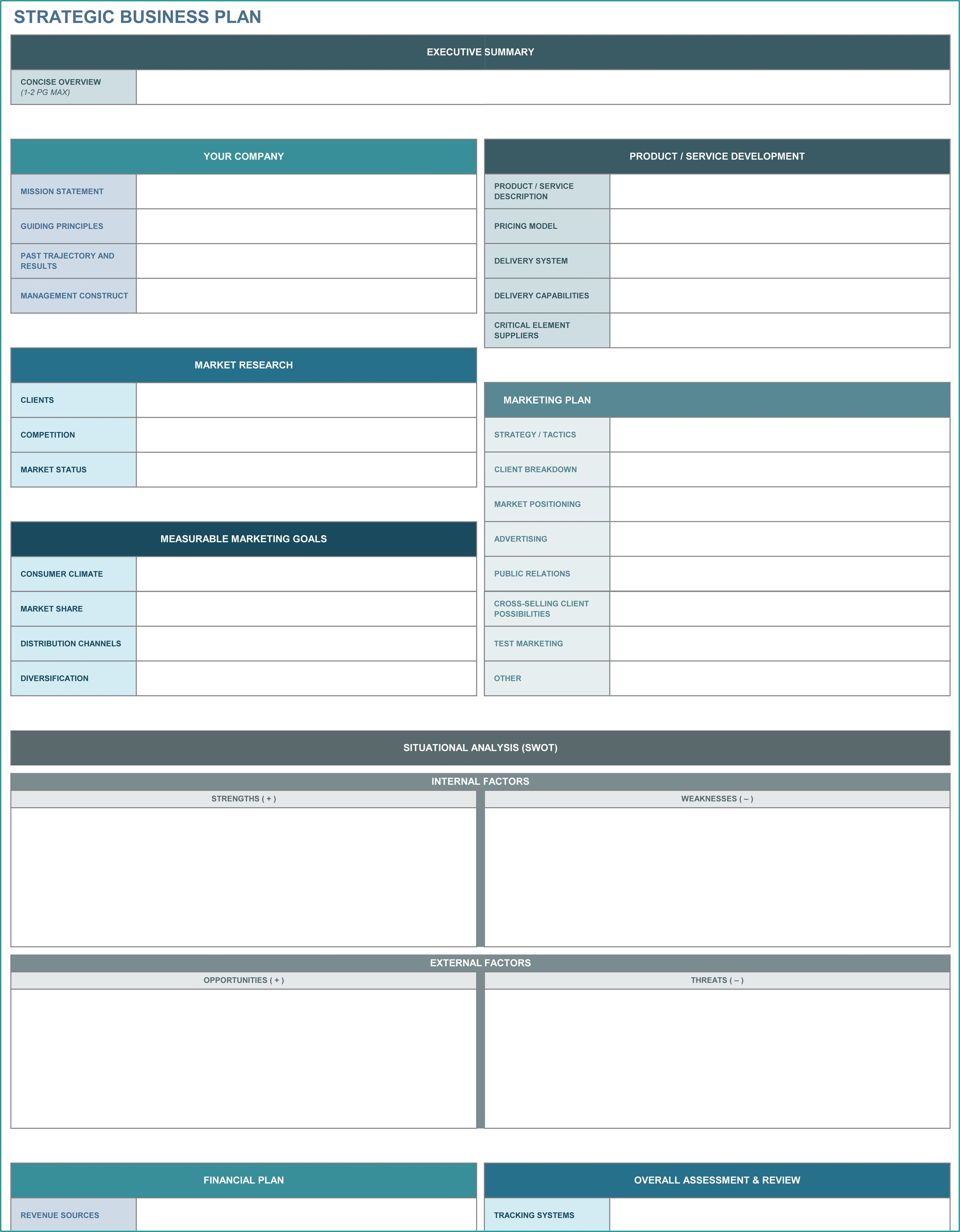 Strategic Plan Template Excel Free