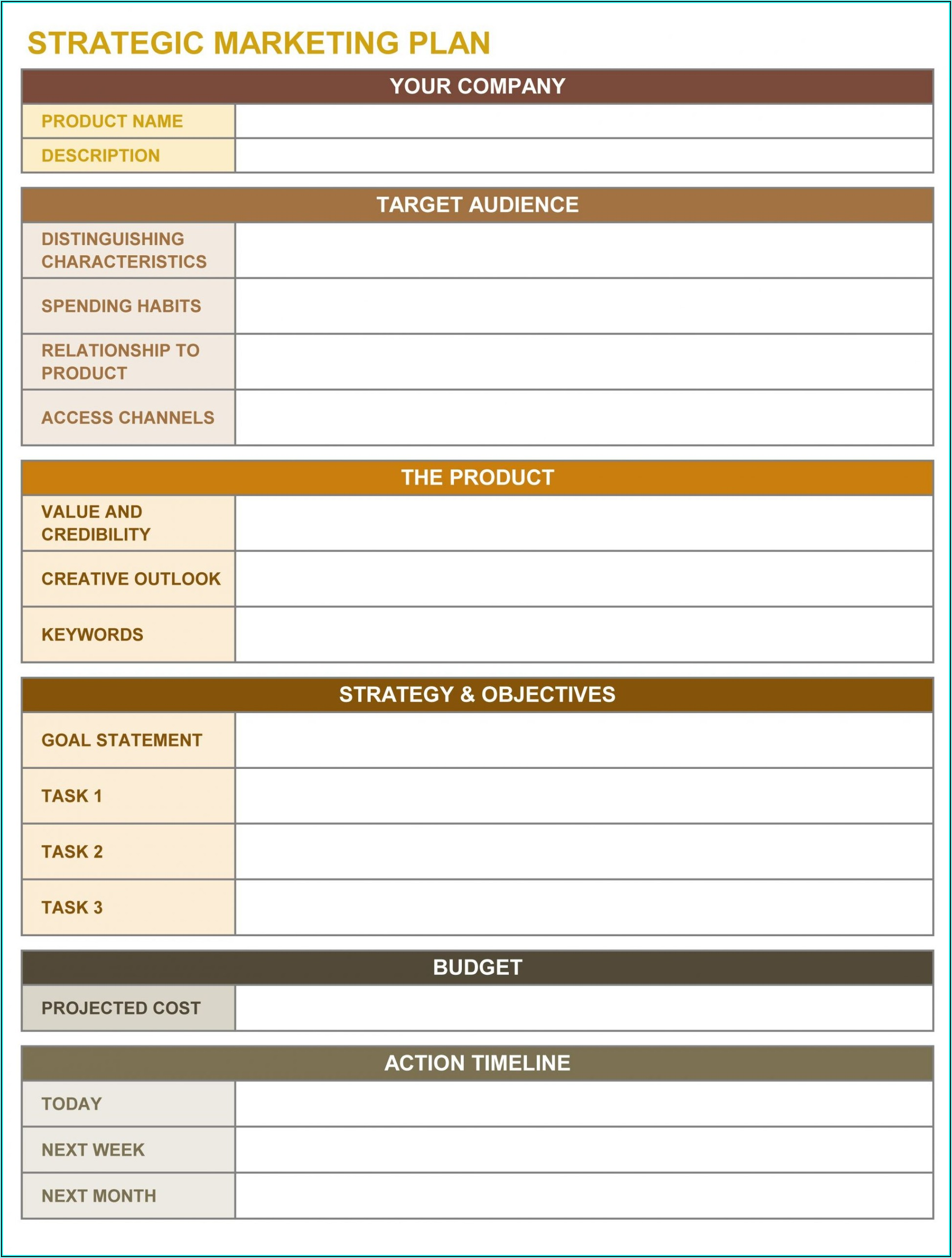 Strategic Sales Plan Template Excel