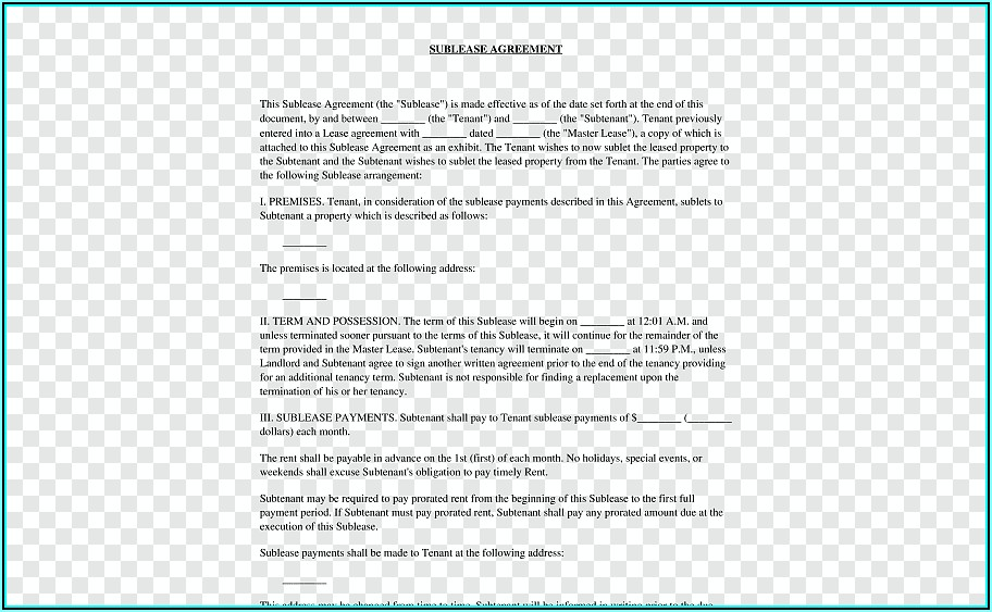 Sublease Agreement Word Document