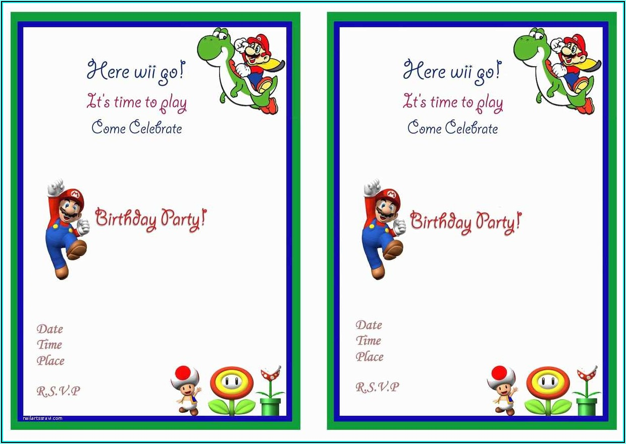 Super Mario Invitations Free Printables