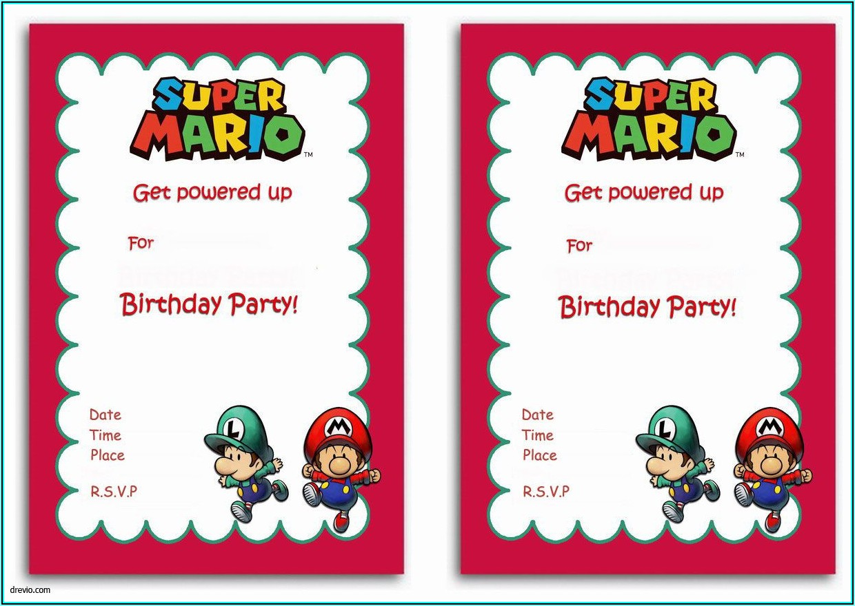Super Mario Invitations Template Free