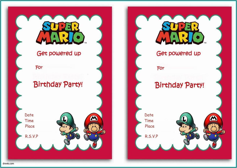 Super Mario Invitations Template Free