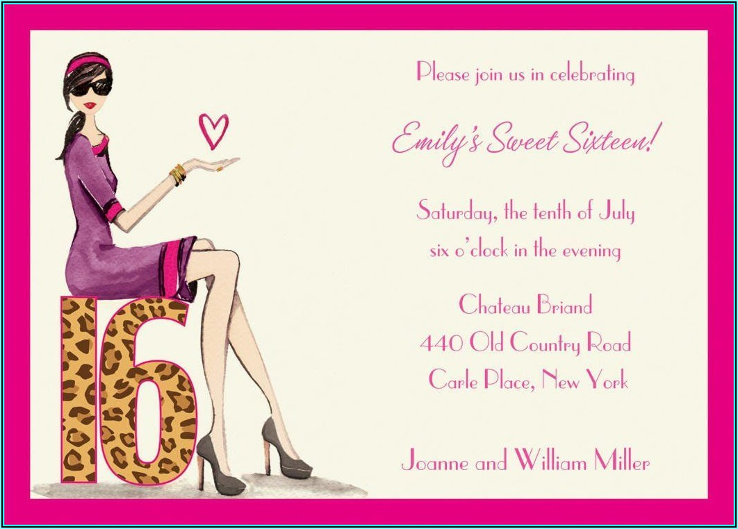 Sweet 16 Birthday Invitation Templates Free