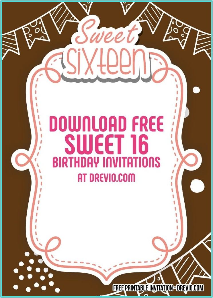 Sweet Sixteen Invitation Templates Free