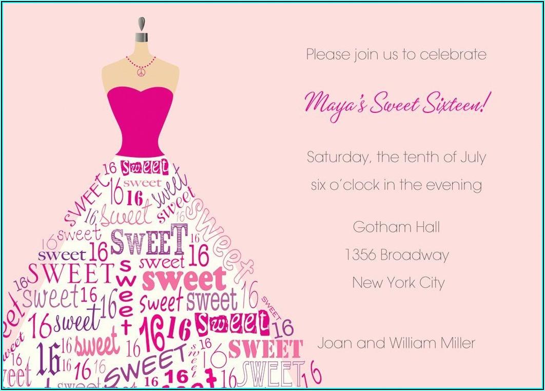 Sweet Sixteen Invitation Templates