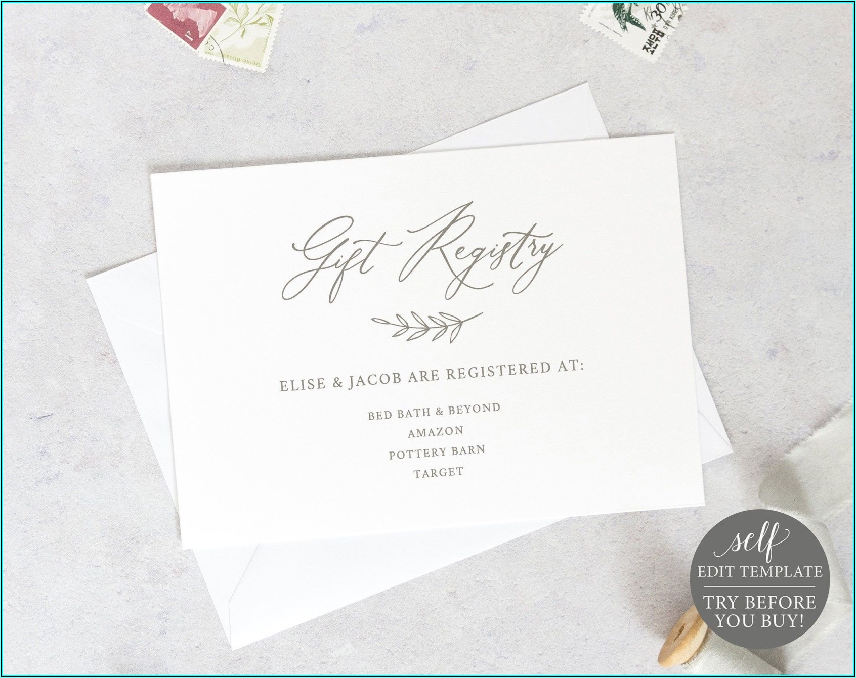 Target Wedding Registry Card Template