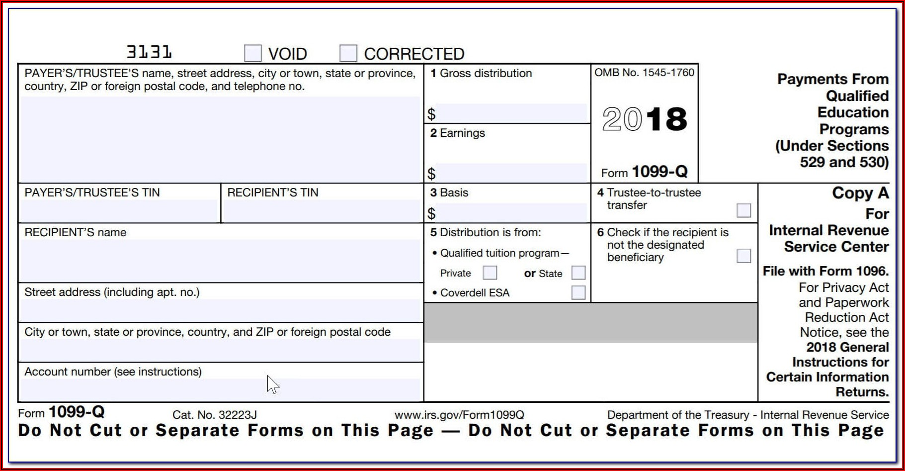 Tax Return Form 1099 G