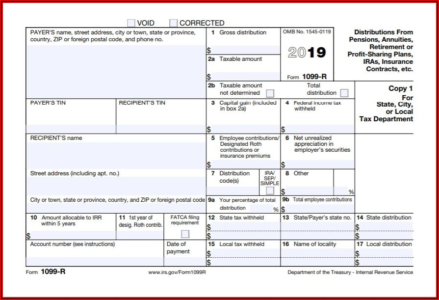 Tax Return Form 1099 R