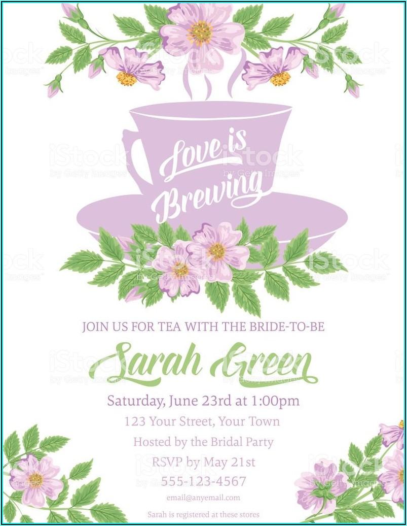 Tea Party Bridal Shower Invitation Template Free
