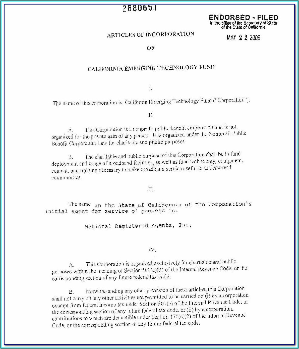 Template For Articles Of Incorporation Nonprofit