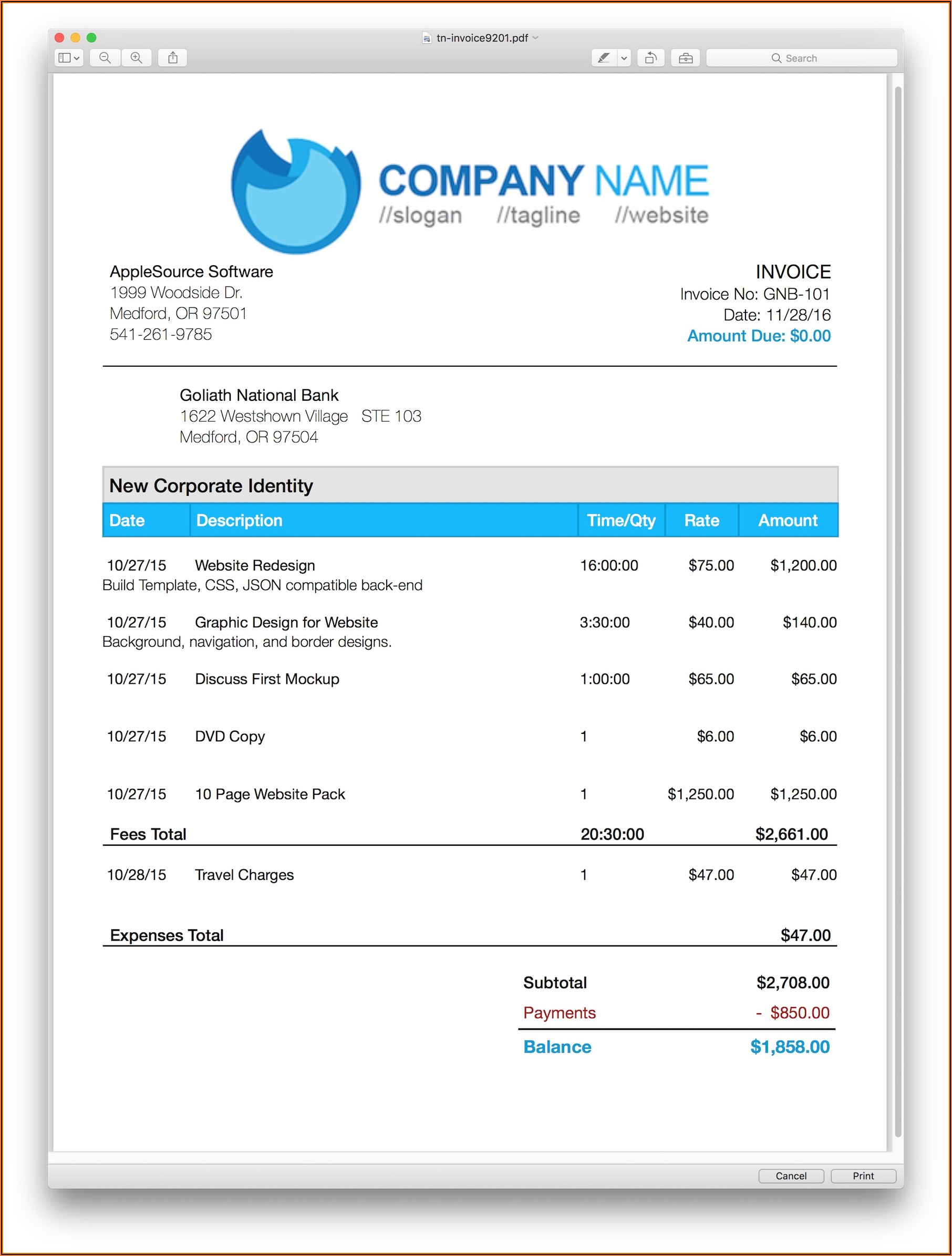 Templates For Billing Invoice