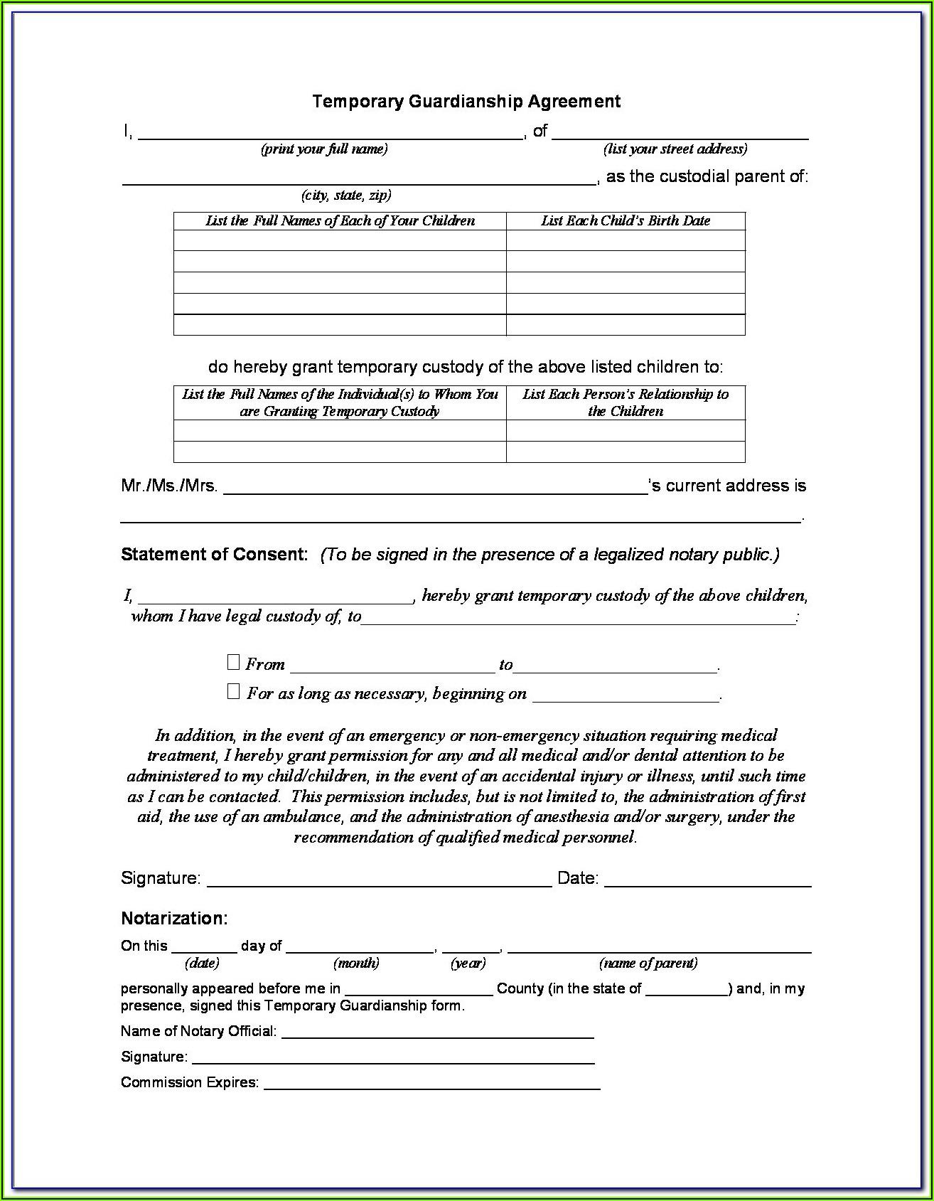 Temporary Guardianship Agreement Form Michigan