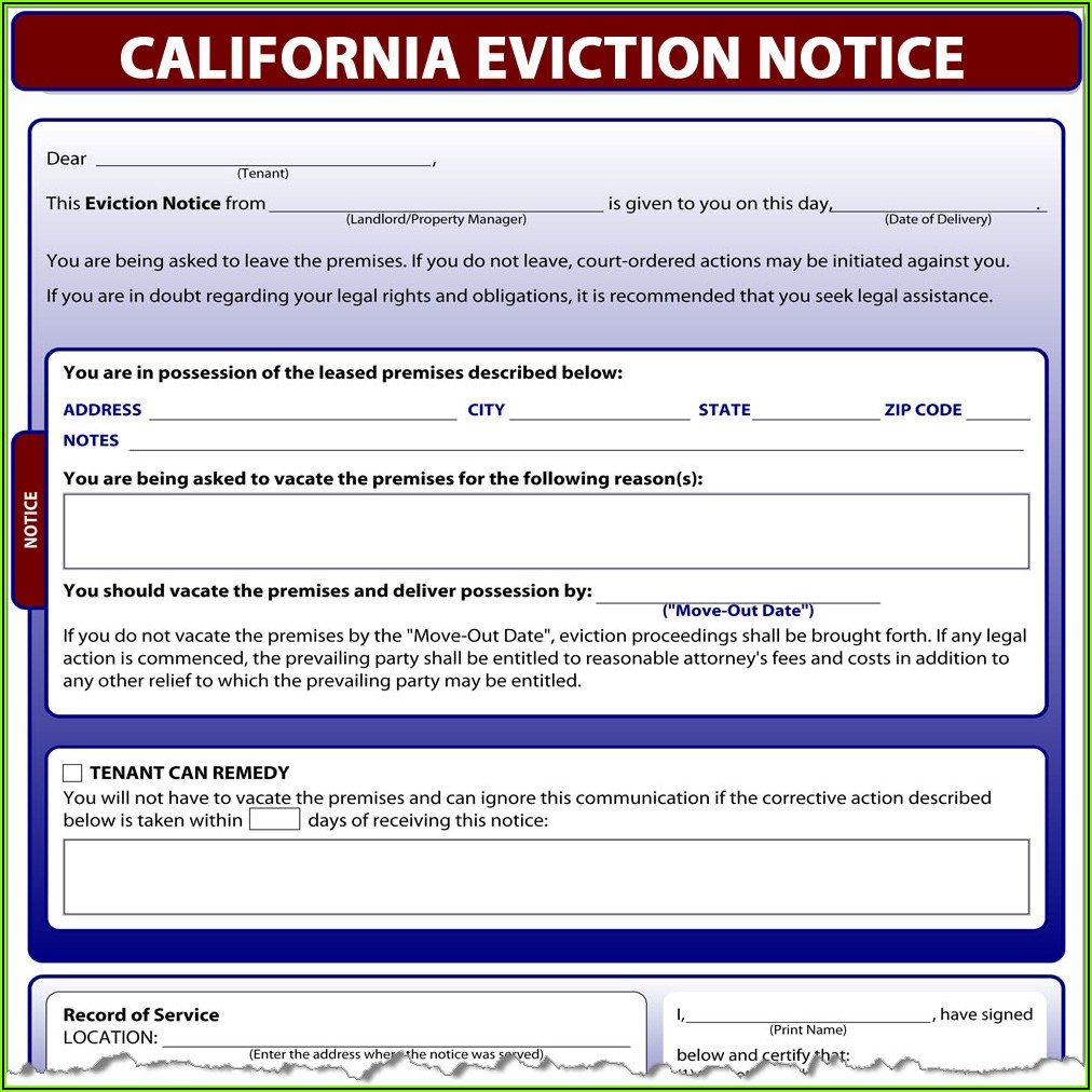 Tenant Eviction Forms California