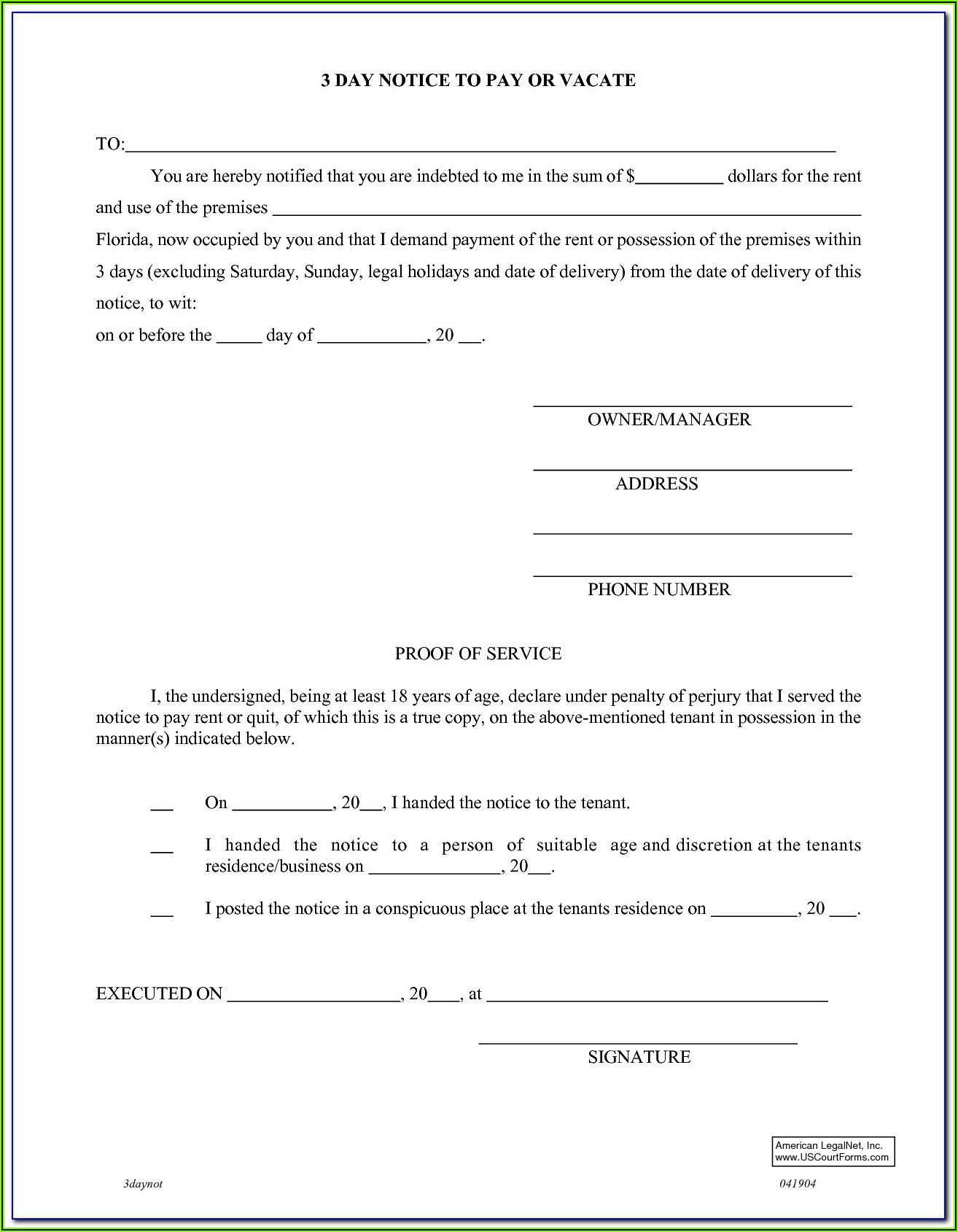Tenant Eviction Forms Florida