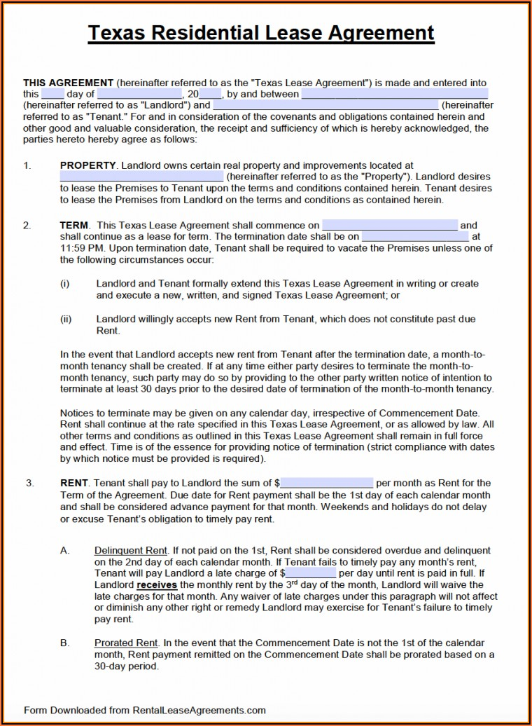 Texas Land Lease Agreement Template