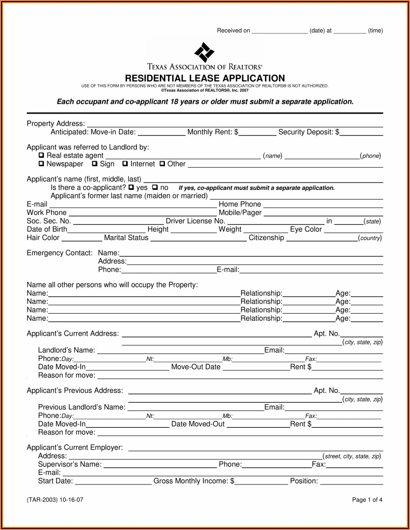 Texas Lease Agreement Template Word