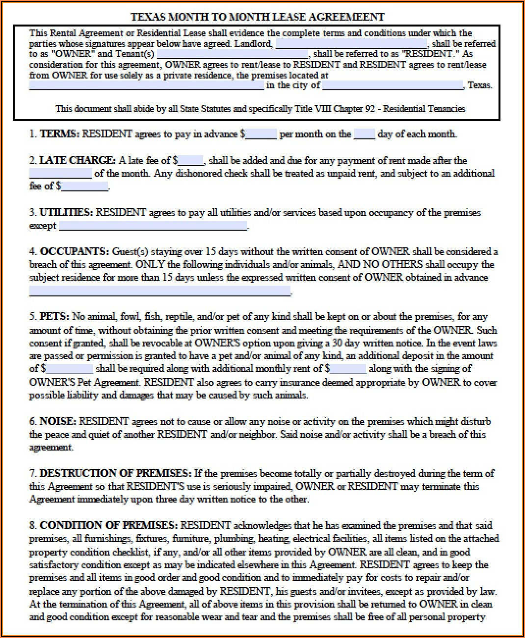 Texas Lease Agreement Template