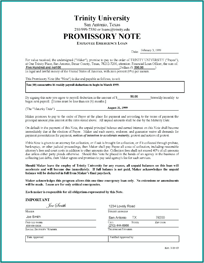 Texas Real Estate Promissory Note Form