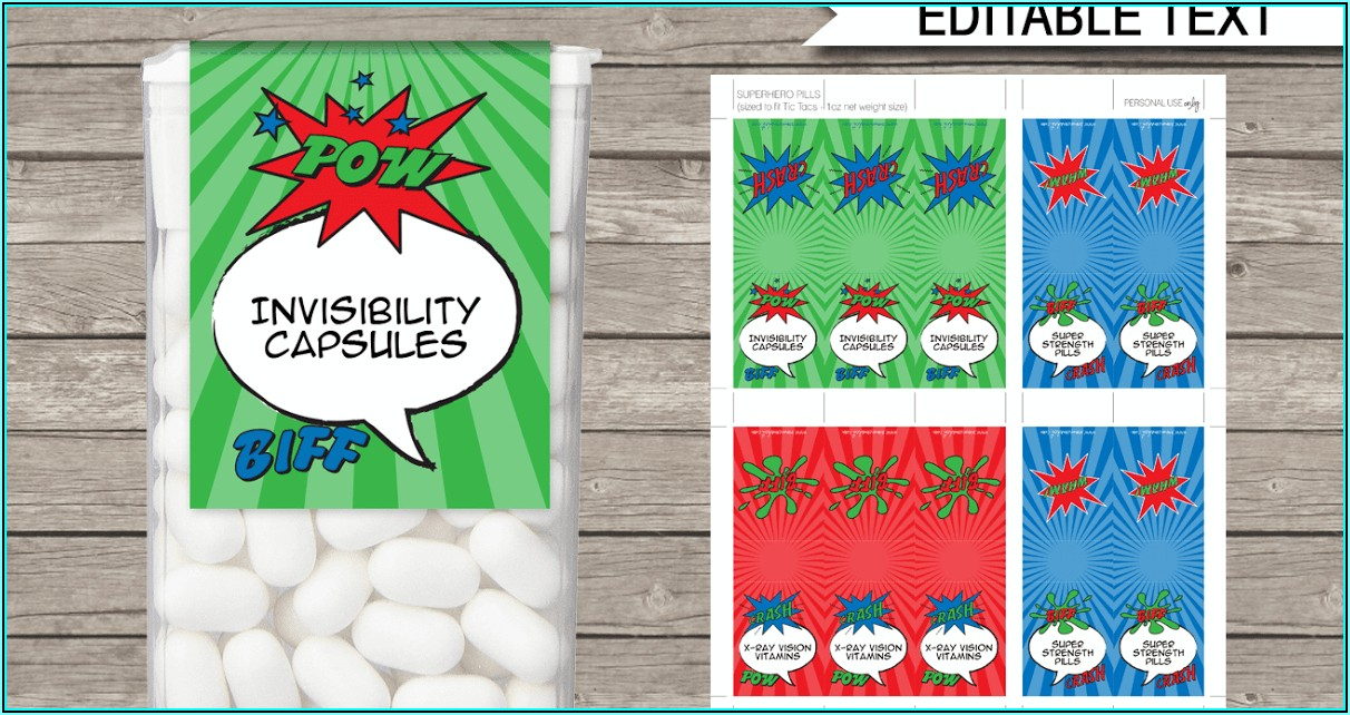 Tic Tac Labels Template Free