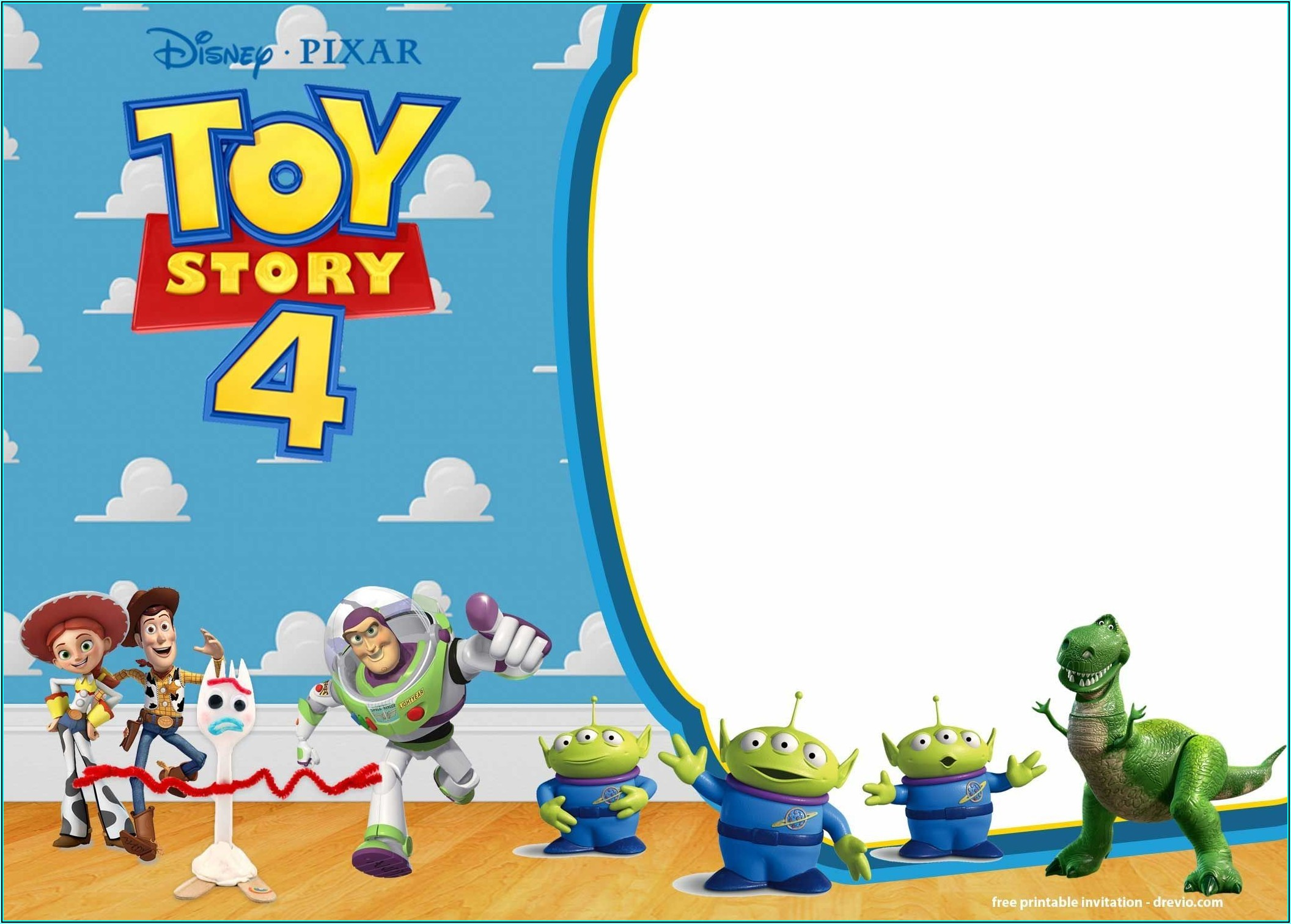 Toy Story 4 Invitation Template