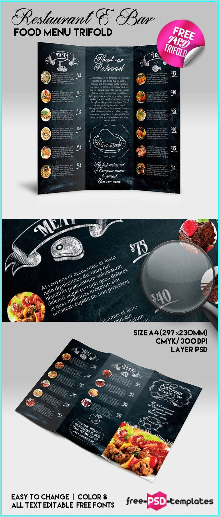 Tri Fold Restaurant Menu Template Free