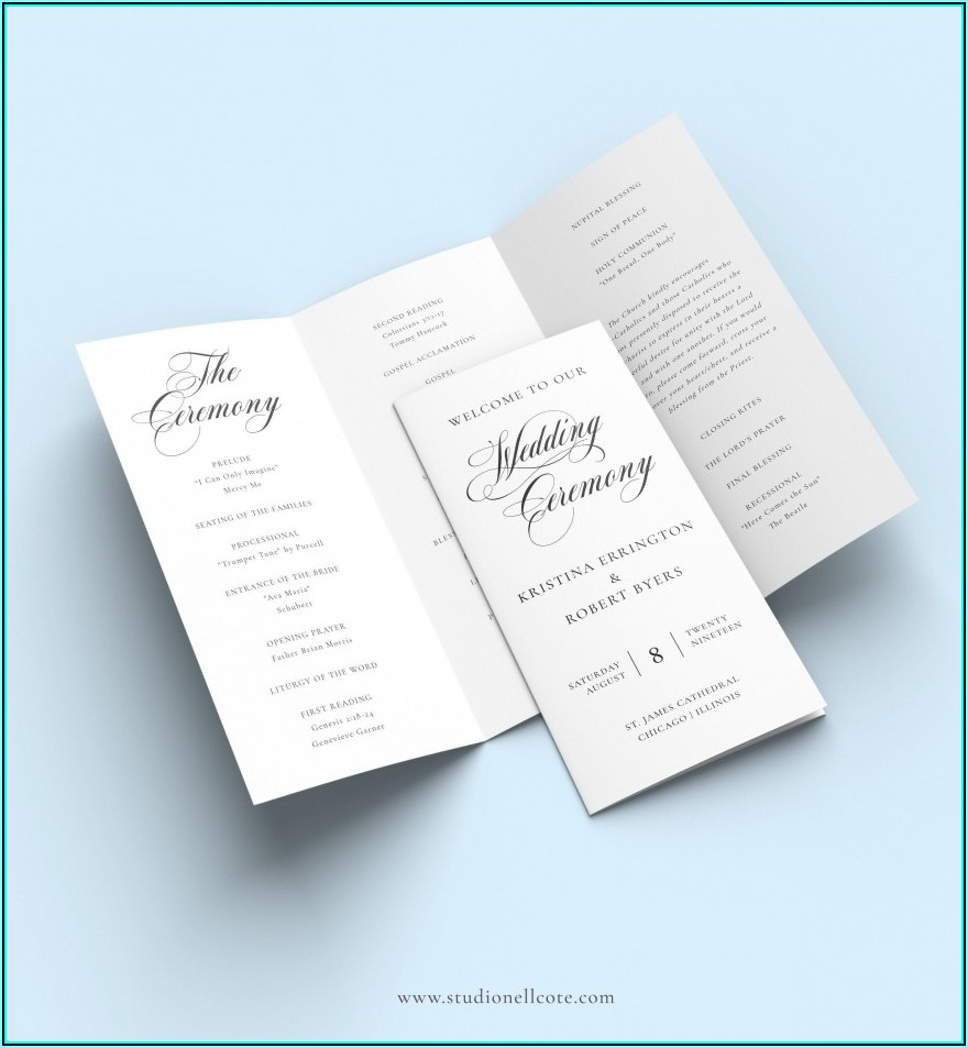 Tri Fold Wedding Ceremony Program Templates