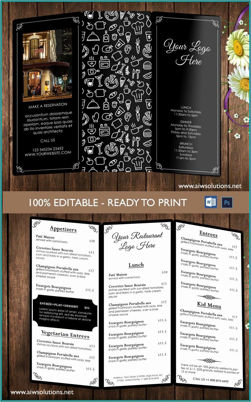 Tri Fold Wedding Menu Template Free
