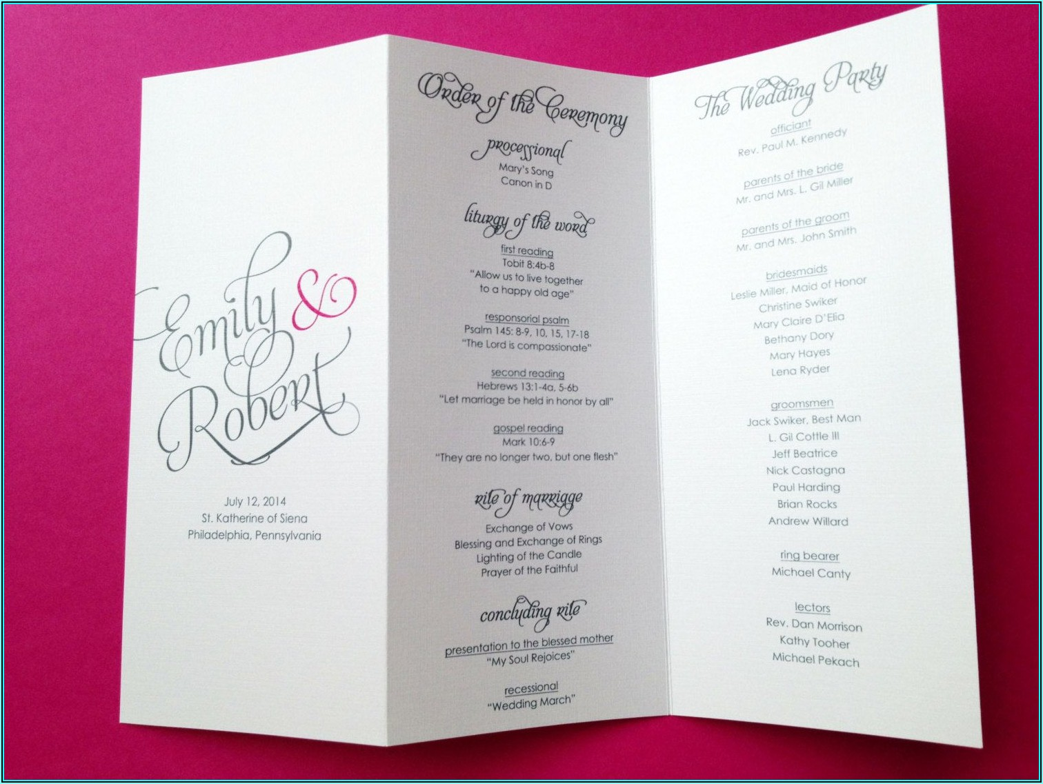 Tri Fold Wedding Program Examples