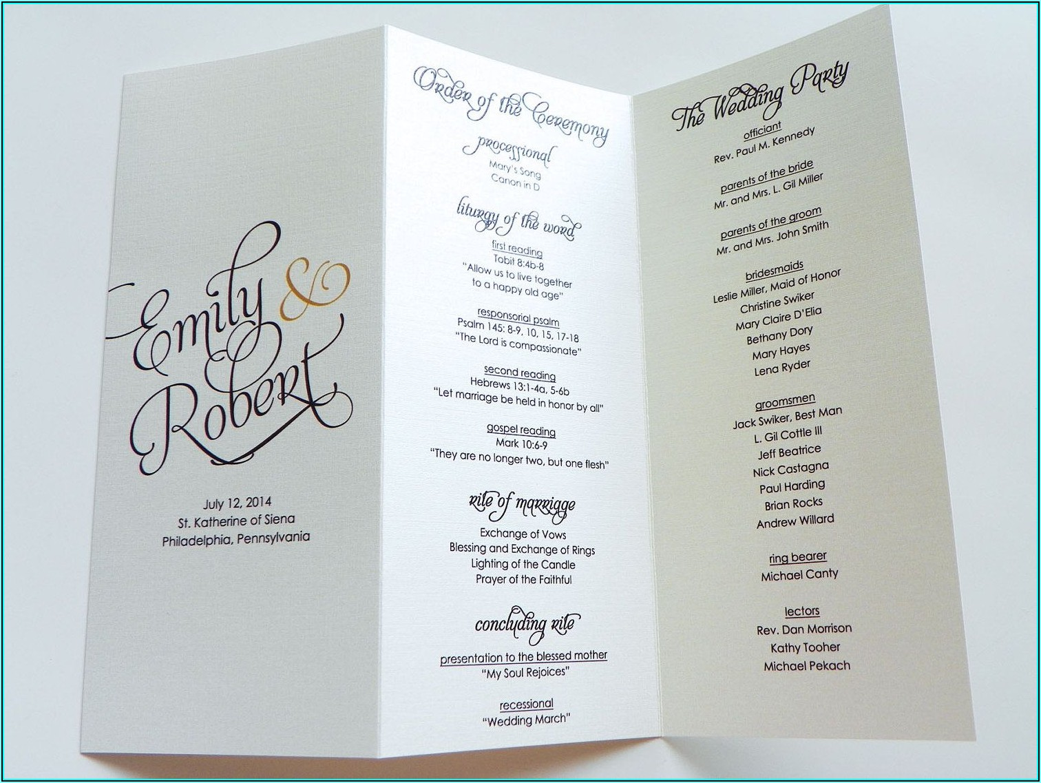 Tri Fold Wedding Program Template Free