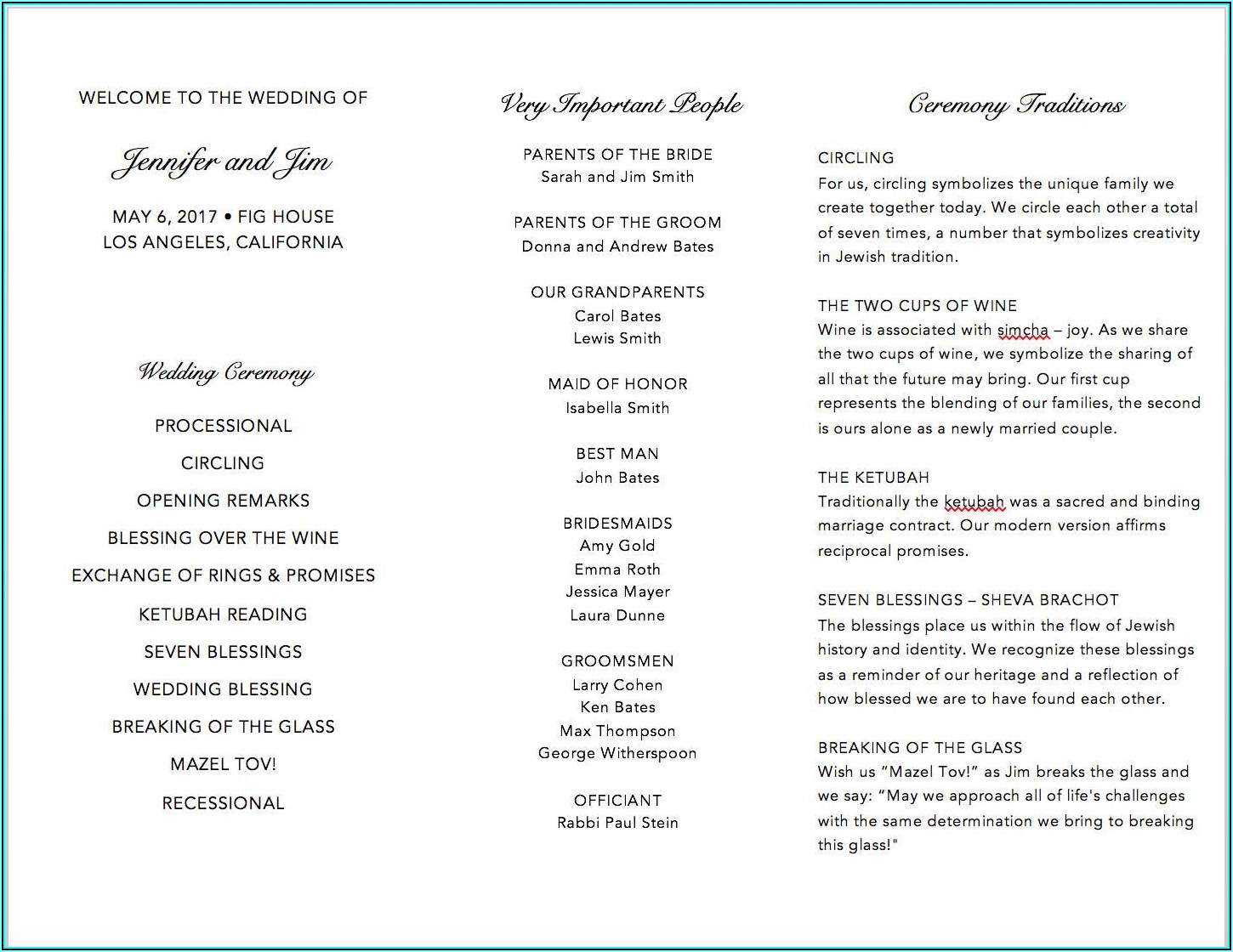 Tri Fold Wedding Program Template Word