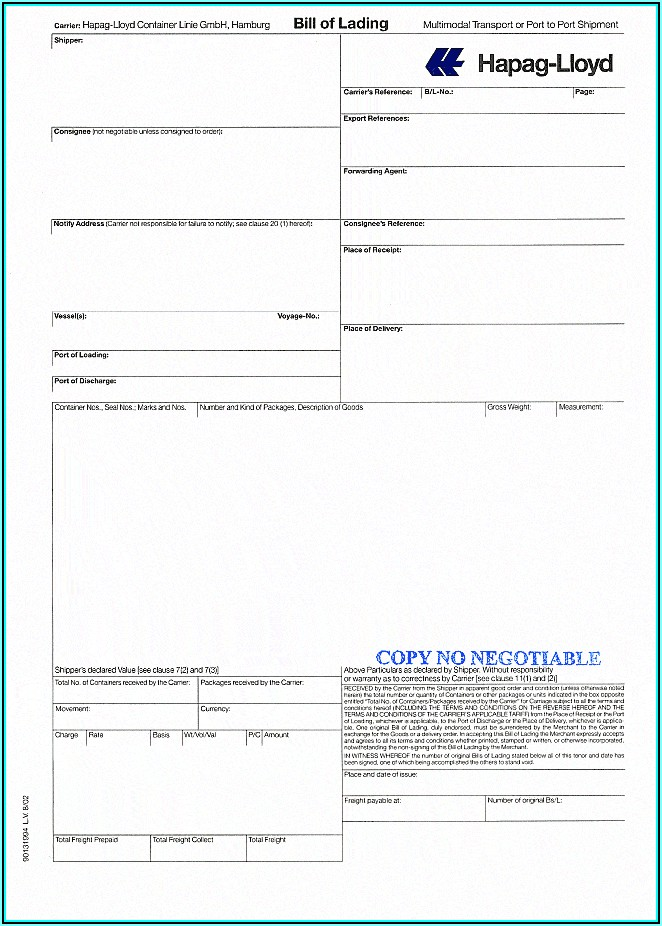 Trucking Bill Of Lading Form