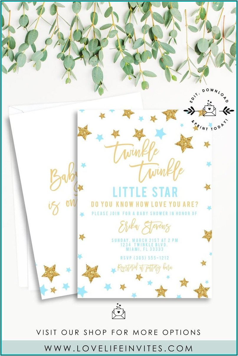 Twinkle Twinkle Little Star Baby Shower Invitation Template